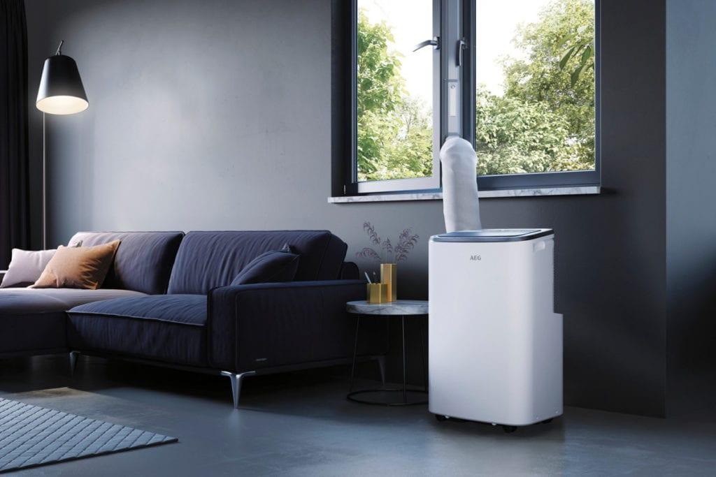 Mobiele airco in een woonkamer