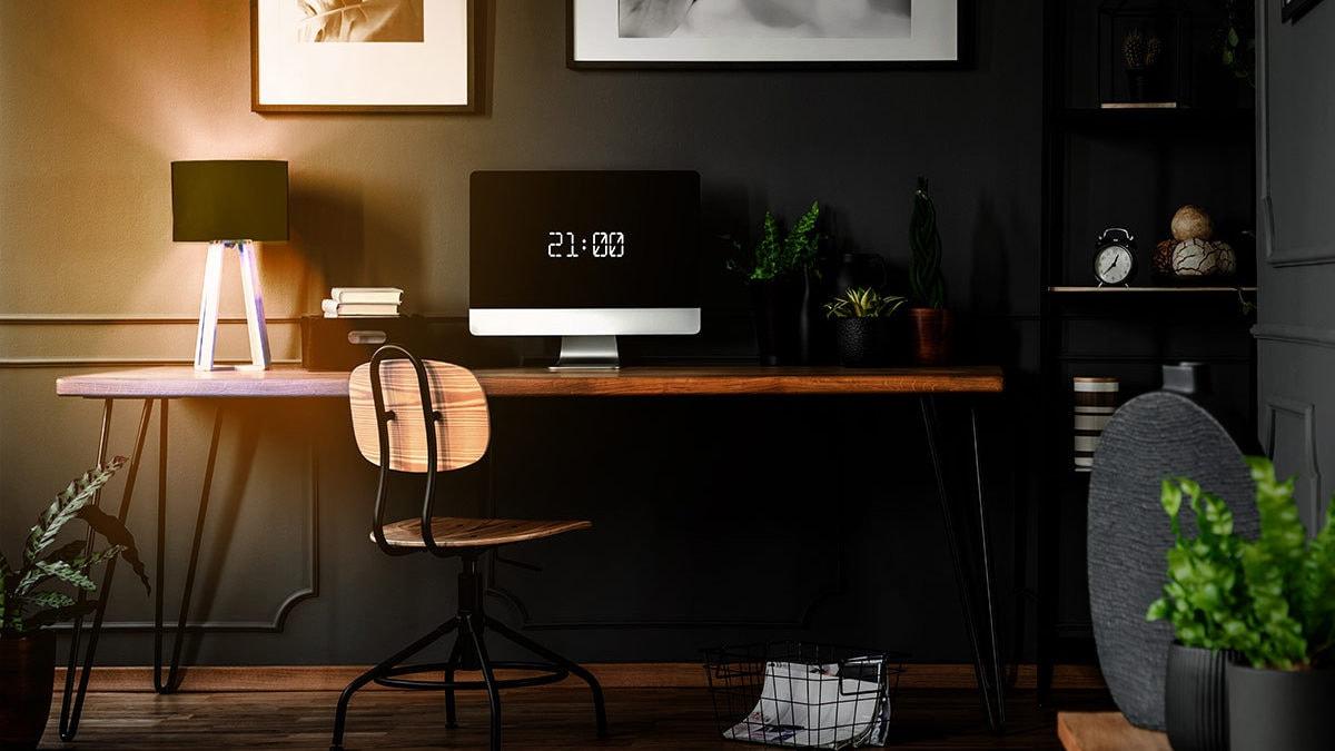 Werkkamer met sfeerverlichting