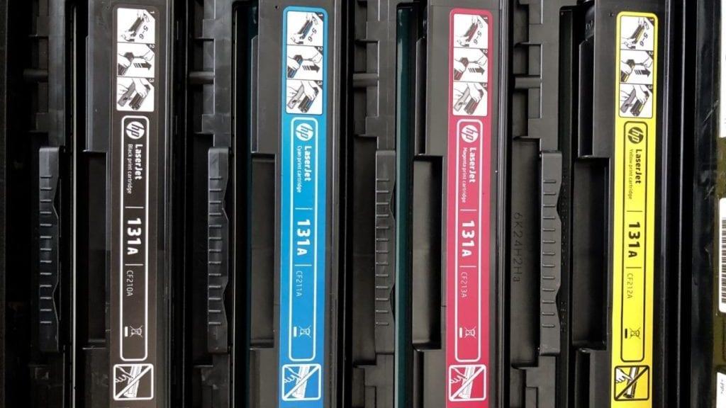 Hp Laserjet Print Cartridges Op Een Rij