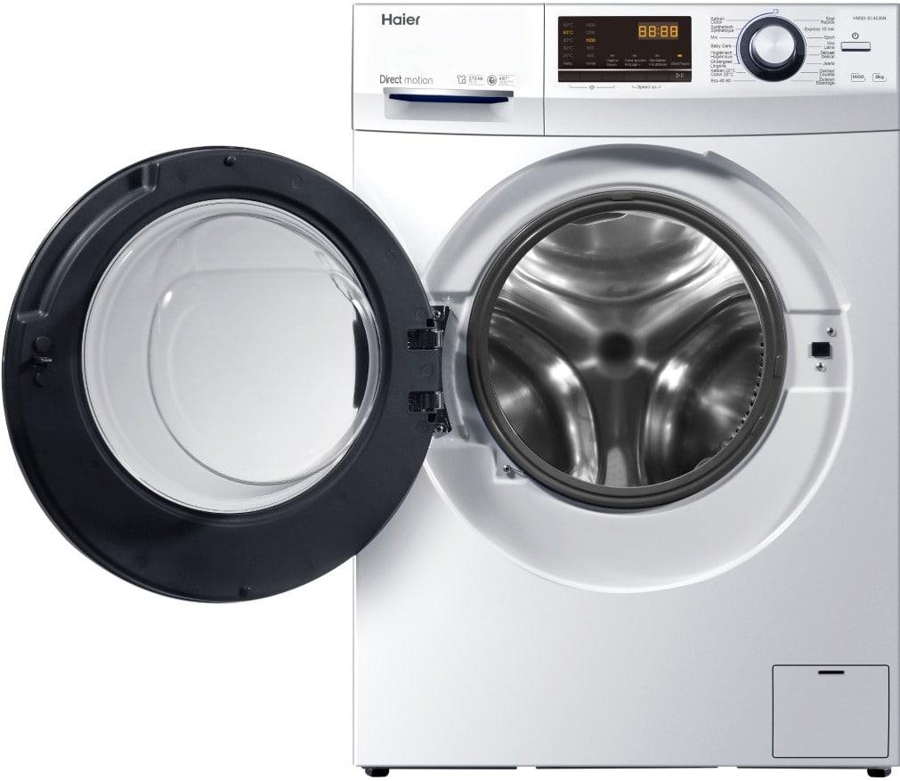 Haier wasmachine met open deur, vooraanzicht