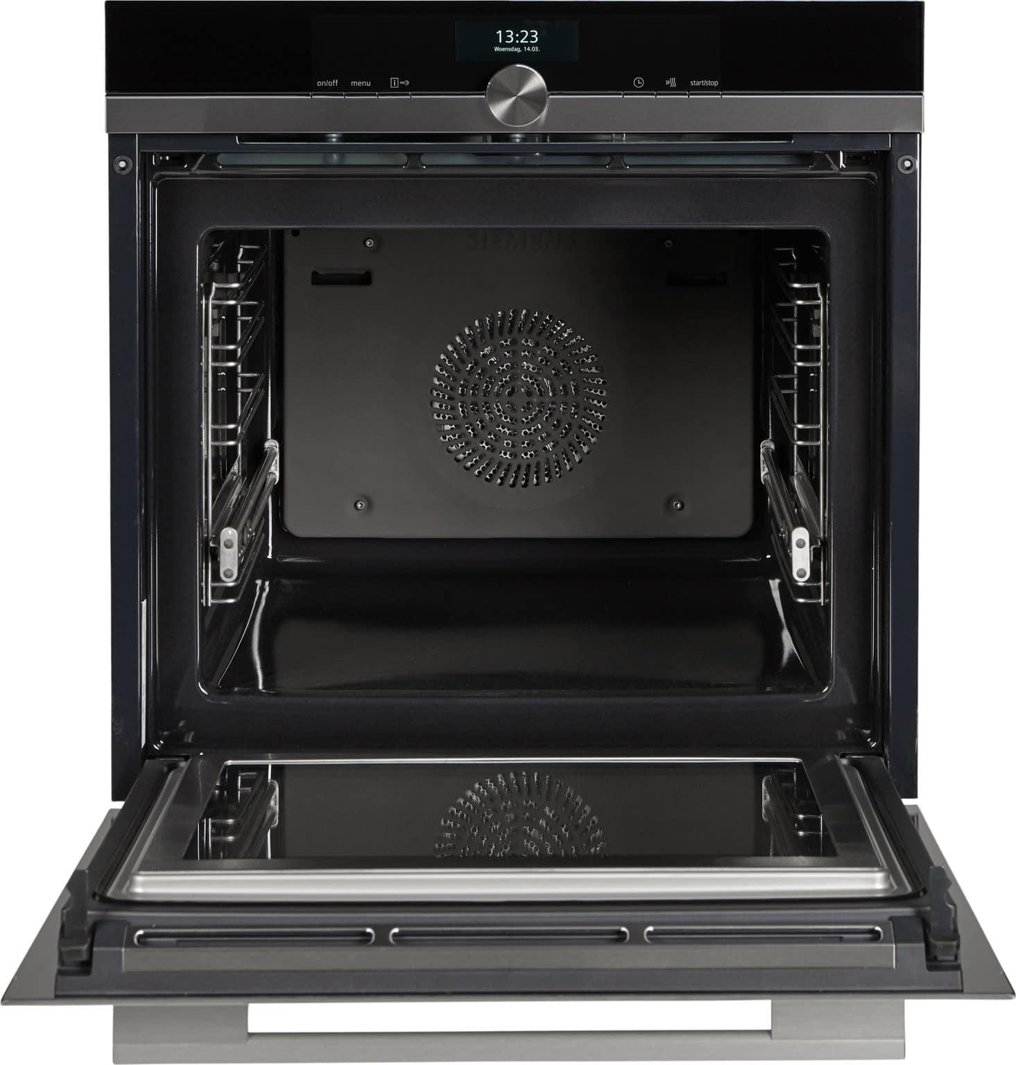 Siemens oven met open deur, vooraanzicht