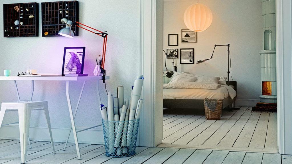 Slaapkamer en werkkamer met lampen