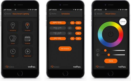 Drie telefoons met app demo
