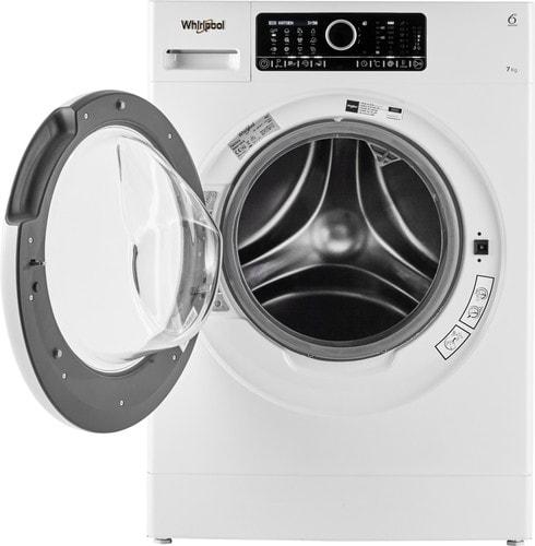 Whirlpool wasmachine met deur open, vooraanzicht