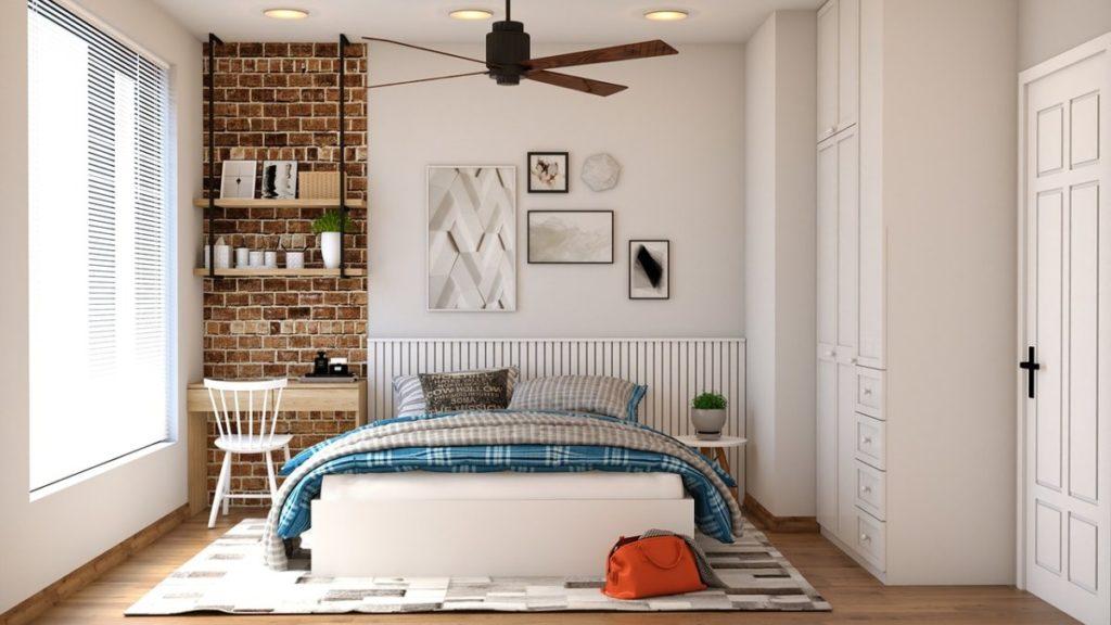 Slaapkamer met plafondventilator