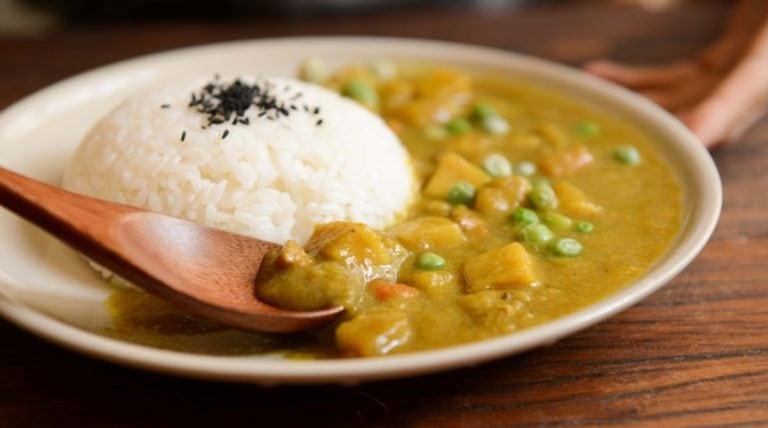 rijstmaaltijd op bord