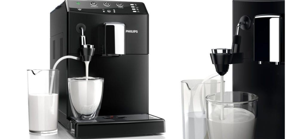 Philips koffiemachine melkopschuimer voor-en zij-aanzicht