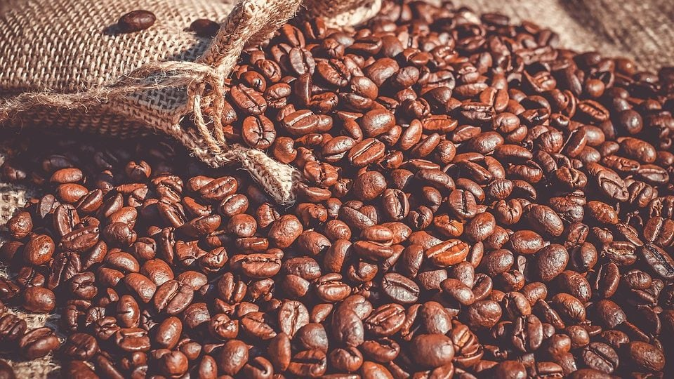 Koffiebonen uit juten zak