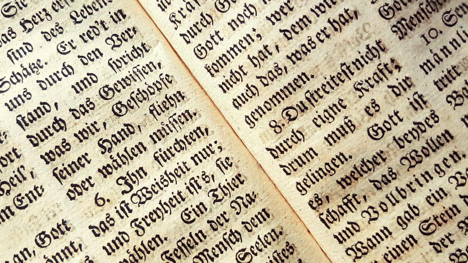 Oud schrift, bovenaanzicht