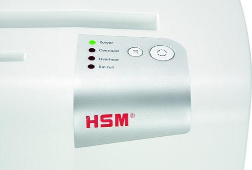 Lampjes van de HSM papierversnipperaar, vooraanzicht