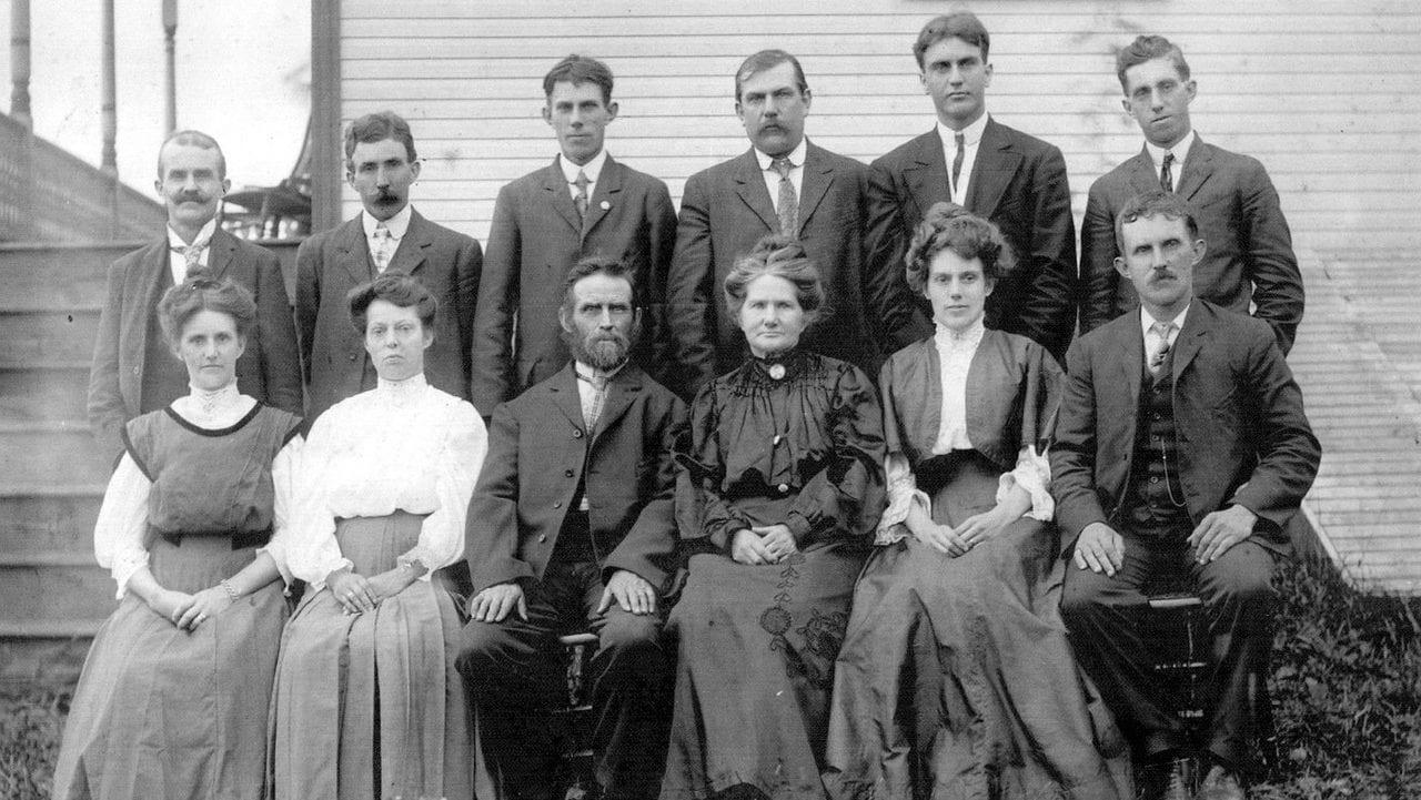 Oude familiefoto, vooraanzicht