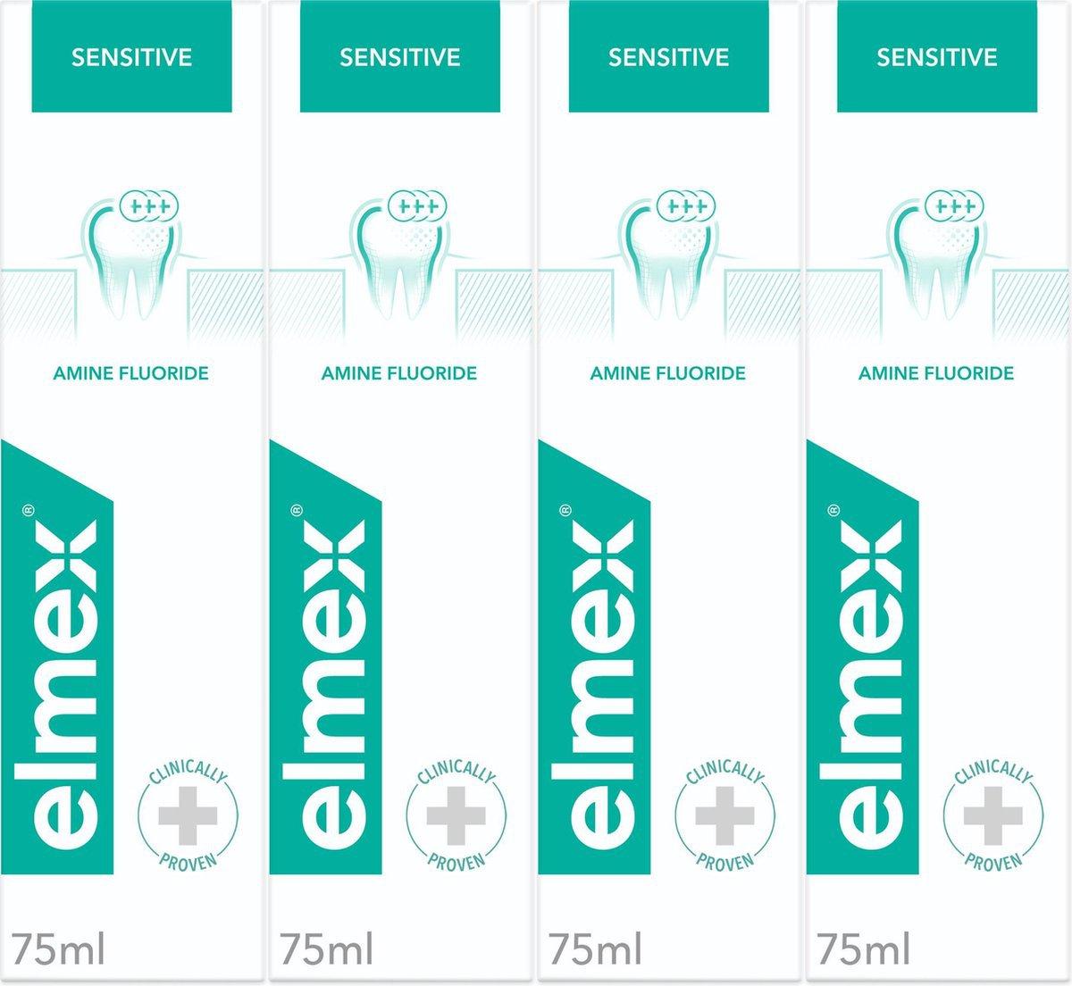 Elmex sensitive tandpasta, vier verpakkingen
