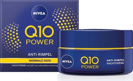 Nivea Q10 nachtcreme, blauwe pot met doosje, vooraanzicht.