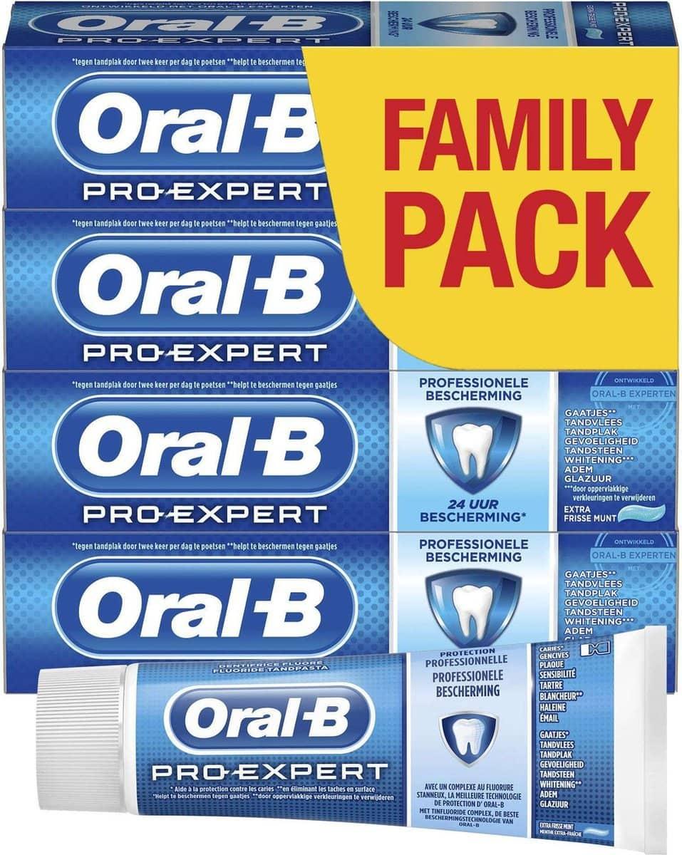 Oral B Expert tandpasta, vijf verpakkingen met losse tube vooraanzicht