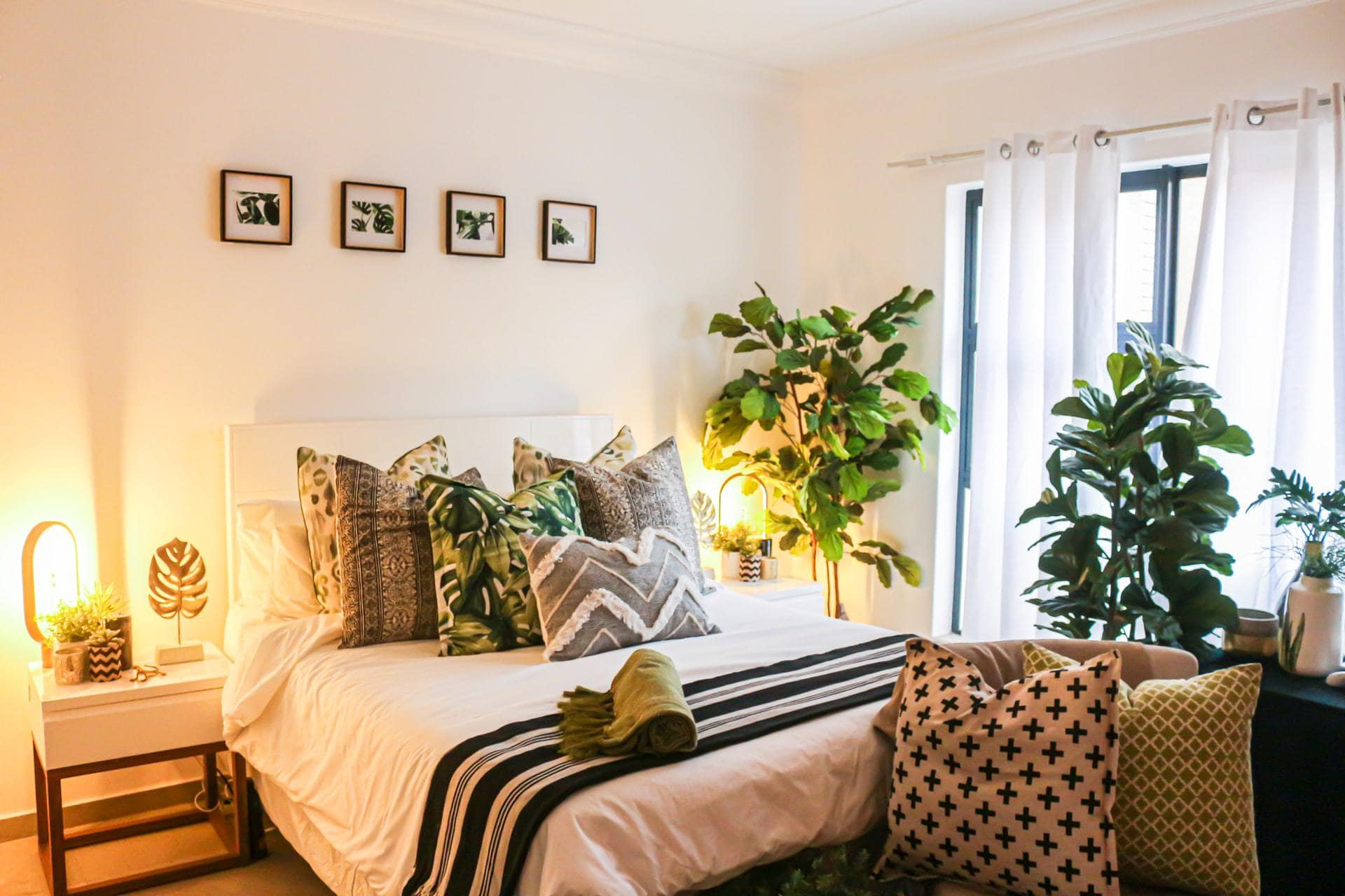 Slaapkamer met planten