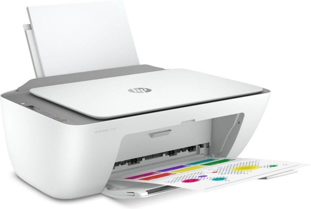 Witte HP-printer, schuin vooraanzicht