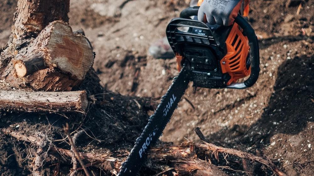 Man zaagt wortels van boom door met kettingzaag
